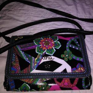 4cc5e43114 Lina crossbody purse with flowers and peace symbol